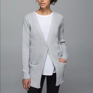 Lululemon We Like to Cardi Grey Knit Sweater Sz 8